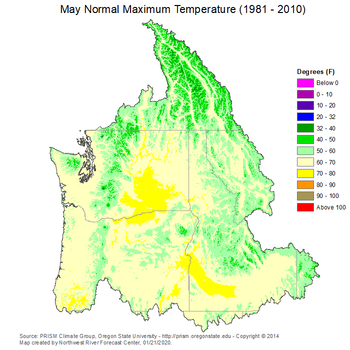 Mean Monthly Max Temperature Map