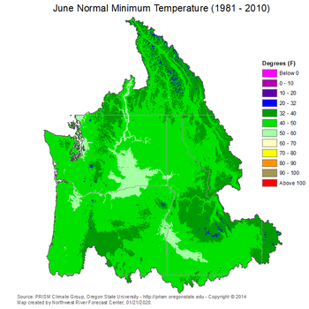 Mean Monthly Min Temperature Map