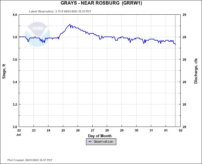 Grays River Level Near Rosburg