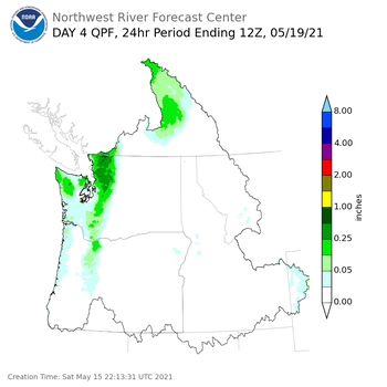 Day 4 (Tuesday): Precipitation Forecast ending Wednesday, May 19 at 5 am PDT