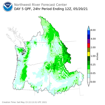 Day 5 (Wednesday): Precipitation Forecast ending Thursday, May 20 at 5 am PDT