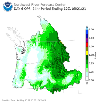 Day 6 (Thursday): Precipitation Forecast ending Friday, May 21 at 5 am PDT