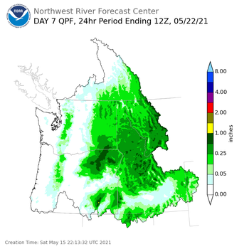 Day 7 (Friday): Precipitation Forecast ending Saturday, May 22 at 5 am PDT