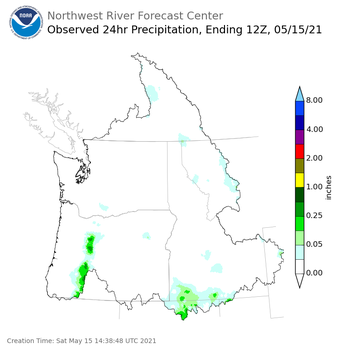 Observed Precipitation ending Saturday, May 15 at 5 am PDT