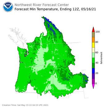 Day 1 (Saturday): Min Temperature Forecast ending Sunday, May 16 at 5 am PDT
