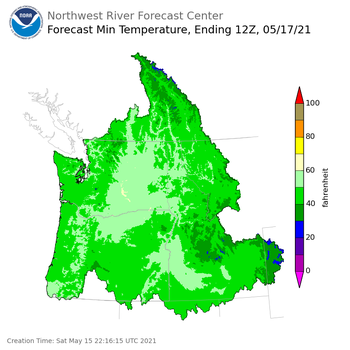 Day 2 (Sunday): Min Temperature Forecast ending Monday, May 17 at 5 am PDT