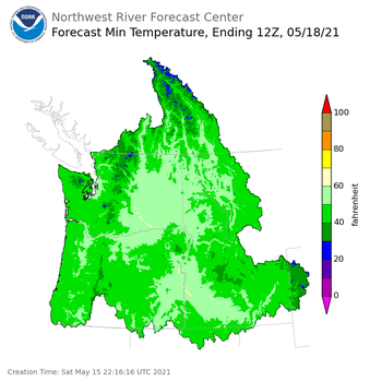 Day 3 (Monday): Min Temperature Forecast ending Tuesday, May 18 at 5 am PDT