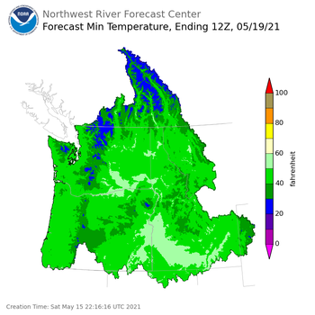 Day 4 (Tuesday): Min Temperature Forecast ending Wednesday, May 19 at 5 am PDT